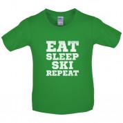 Eat Sleep Ski Repeat Kids T Shirt