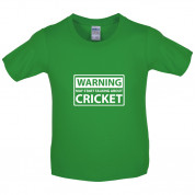 Warning May Start Talking About Cricket Kids T Shirt