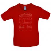 4 View Golf MK3  Kids T Shirt