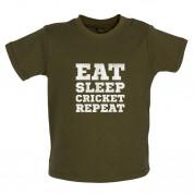 Eat Sleep Cricket Repeat Baby T Shirt