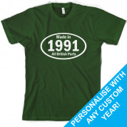Custom Made in - British Parts Birthday T Shirt
