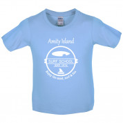 Amity Island Surf School Est.1974 Kids T Shirt