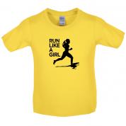Run Like A Girl Kids T Shirt