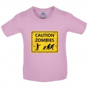 Caution Zombies Road Sign Kids T Shirt