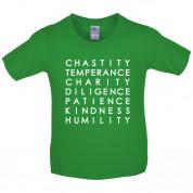 7 Catholic Virtues Kids T Shirt