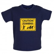 Caution Zombies Road Sign Baby T Shirt