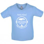 Amity Island Surf School Est.1974 Kids T Shirt